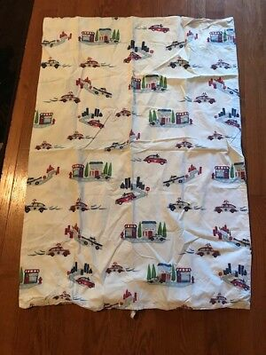 Pottery Barn Toddler Duvet w/ Police Cars Town Scenes So CUTE!