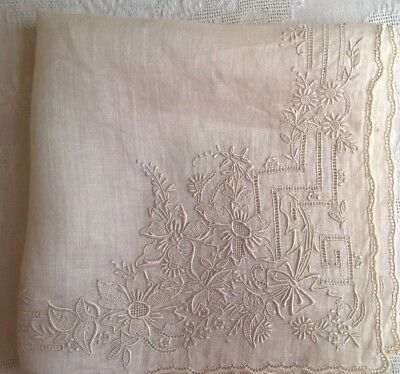 Vintage Embroidered Tone on Tone  Embroidered Cut Work Hankie Estate Find