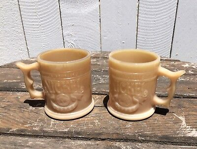Vintage Whataburger Nickel Buffalo Indian Head Coffee Mug Pair Milk Glass