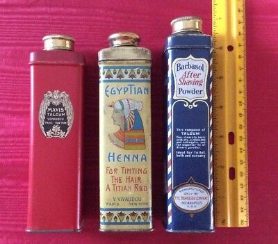 3 Vintage Tins- Egyptian Henna - Barbasol After Shaving Talc - Mavis Talc