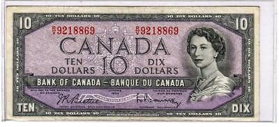 1954 Bank of Canada Note Lot $1, $2, $5, $10 - VF-Unc - p. 75b, 76b, 77c, 79b