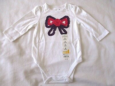 Jumping Beans 6 months Bow White Long Sleeve bodysuit Pink Purple Bow New