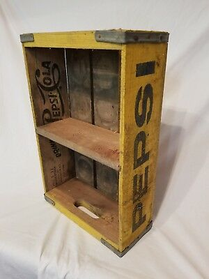 Wooden Yellow Pepsi Cola Crate Knoxville TN 32 Tennessee Tenn 2 Section