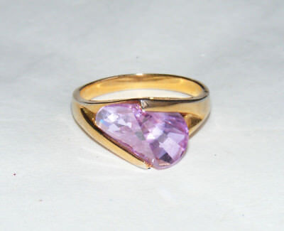 Vintage Costume Cocktail Gold Tone Light Purple Faceted Stone Size 9 Ring B2