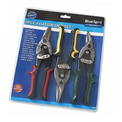 BlueSpot Tools Aviation Tin Snip Set 3 Piece Metal Wire  - 09305