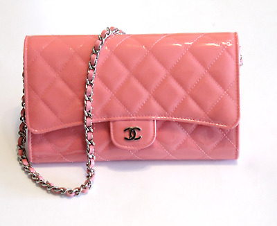f87c00f86e3bc Chanel Pink Patent Leather Wallet Clutch Leather Chain Laced Strap 2016 NEW