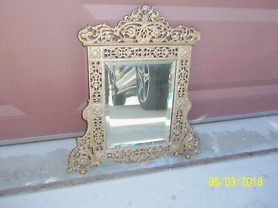 Circa 1890's Antique VICTORIAN CAST IRON ORNATE VANITY BEVELED GLASS MIRROR