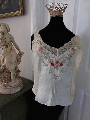 ANTIQUE 1920's FRENCH SILK & LACE CAMISOLE/LINGERIE ..OMBRE RIBBON ROSES