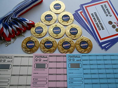 SILVER OR BRONZE// CERTIFICATE PENALTY SHOOT OUT MEDALS X 10 METAL//50MM //GOLD
