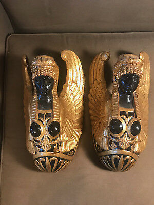 """Rare Antique Pair Of Gold And Black Egyptian Wall Pockets - 13"""" Tall"""