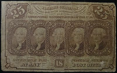 U.S. 25 ¢ Fractional Currency 1st Issue, FR 1281, Straight Edge –July 7, 1862.