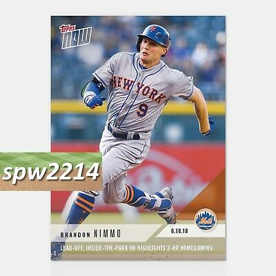 2018 Topps Now Brandon Nimmo #338 Lead-Off Inside the Park HR Homecoming