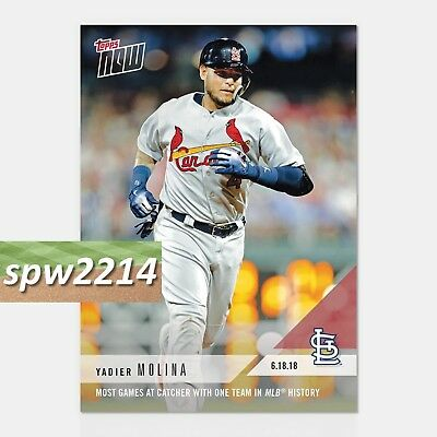 2018 Topps Now Yadier Molina #339 Most Games at Catcher with One Team