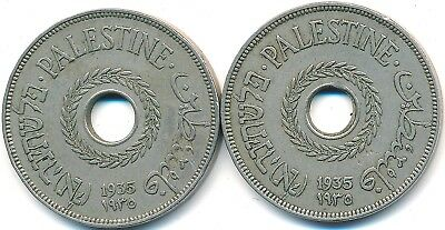 2 Old 1935 Twenty 20 Mils From Palestine