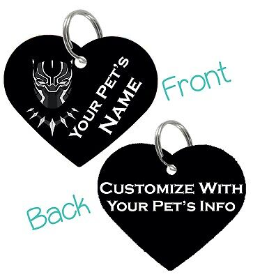 Black Panther T'Challa Pet Id Tag for Dogs & Cats Personalized For Your Pet
