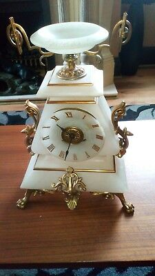French alabaster and ormolu mantle clock