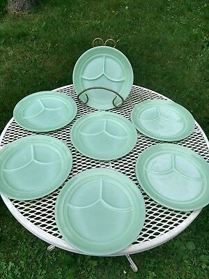 (Set) 7 Fire King JADITE divided grill dinner plates mid-century mint oven ware