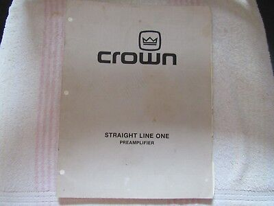 Crown Brand. Model Straight Line One. Stereo Pre Amplifier. Owner's Manual.
