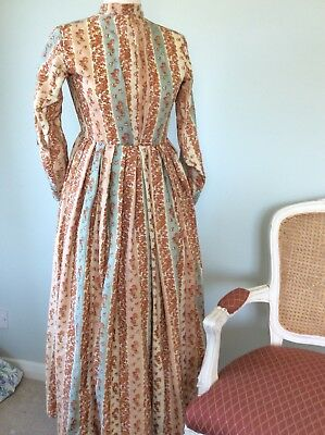 Interesting c1860s Challis Wool floral stripe House Dress Victorian Antique