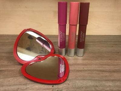 3 x REVLON COLORBURST MATTE LIP BALM STAIN & FREE HEART SHAPED MIRROR