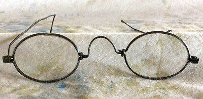 Antique Vintage Primitive 1800s Metal Steel Iron Eyeglasses Spectacles & Case