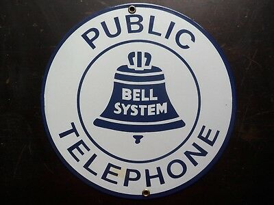 Vintage Style BELL SYSTEM PUBLIC TELEPHONE Porcelain Round Sign