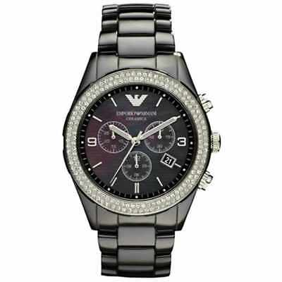 Armani Womens Watch Ar1455 Mother Of Pearl Dial Black Ceramic Strap Coa Rrp £499