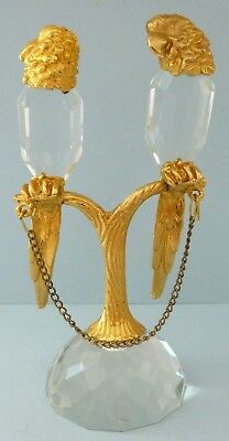 Vintage Silver Plate Gold Metal Parrot Pair Bird Crystal Glass Portugal Rare