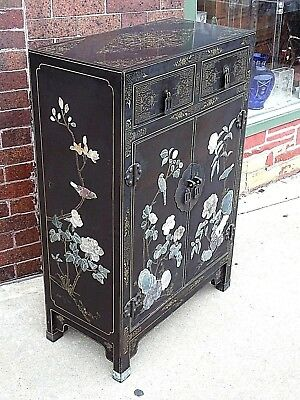 Asian Antique Black Lacquer Stone inlay Flower & birds Cabinet Chest cupboard