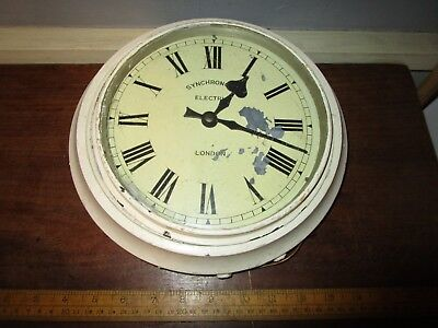 Antique Wooden Synchronome Clock / Synchronome Wall Clock with painted wood rim