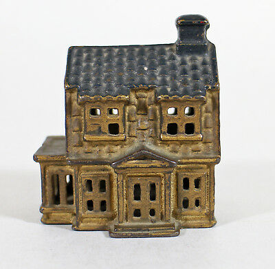 A.C. Williams Colonial House Cast Iron Still Bank * Antique Coin Toy Bank