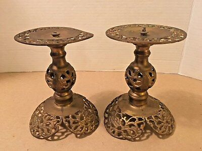 """Antique/Vintage Brass Pierced Asian Moroccan Candle Holders 6"""""""