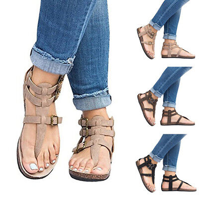 c943dfd230ae Womens Summer Fashion Beach Bandage Sandals Ladies Flat Shoes Open Toe Flip- flop