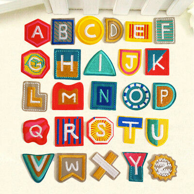 DIY 26 Letters Embroidered Sew On Iron On Patch Badge Fabric Applique DIY Craft