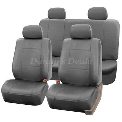 Grey Leather Look Car Seat Covers Cover Set For Toyota Prius 2009 - 2015