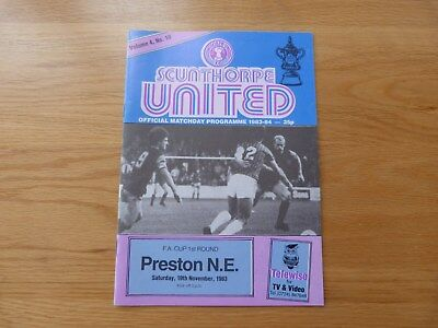 Scunthorpe United v Preston North End FA Cup Football Programme 1983-84