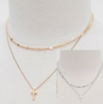 Sterling silver Rose Gold double layer Beads choker necklace cross Gift Box PE17