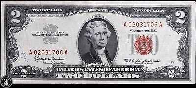 1963 $2 Two Dollar Bill United States Legal Tender - Red Seal Note - Au !!