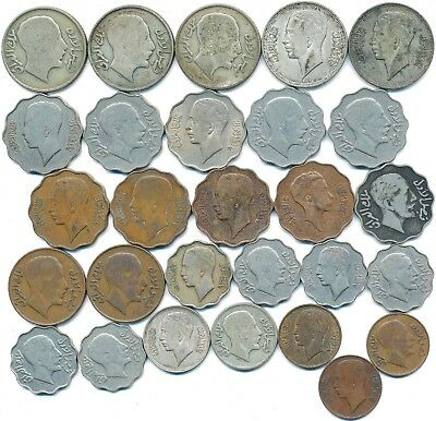 28 Old Coins From Iraq 1931-1943 Including 7 Silver Coins