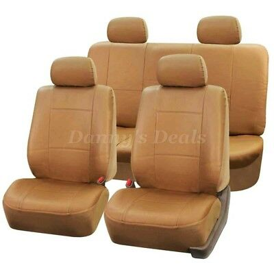 Tan Leather Look Car Seat Covers Cover Set For Toyota Yaris 5DR 2006 - 2011