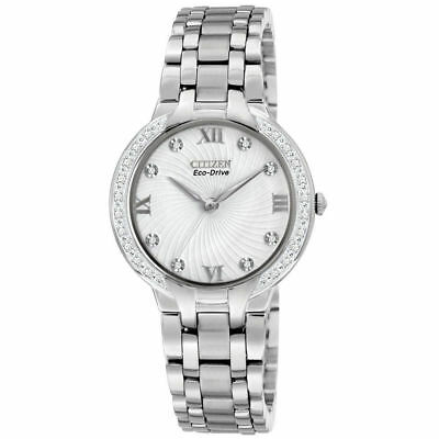 NEW Citizen EM0120-58A Eco Drive Diamond Accented Bezel & Dial Women's Watch