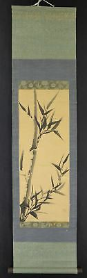 "JAPANESE HANGING SCROLL ART Painting ""Bamboo"" Asian antique  #E2521"