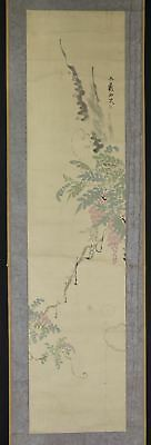 "JAPANESE HANGING SCROLL ART Painting ""Flowers"" Asian antique  #E2544"