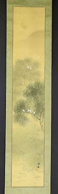 JAPANESE HANGING SCROLL ART Painting Scenery  Asian antique  #E2540