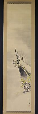 JAPANESE HANGING SCROLL ART Painting  Asian antique  #E2545