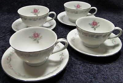 FOUR Fine China of Japan Royal Swirl Tea Cup Saucer Sets 4 EXCELLENT