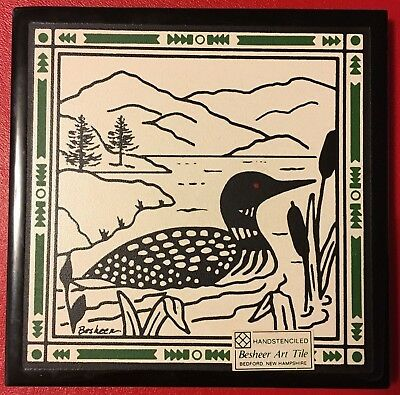 """COMMON LOON ART TILE by BESHEER (BEDFORD, NH) 6"""" x 6"""" Hand Stenciled"""