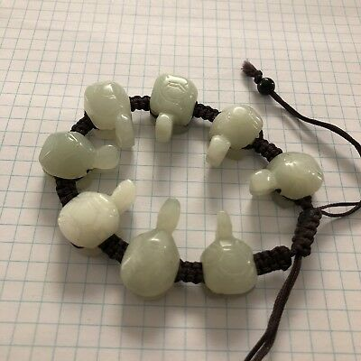 Vintage Hand Carved Jade 8 Turtle Bracelet, Adjustable Sliding Hand Knott Rope.