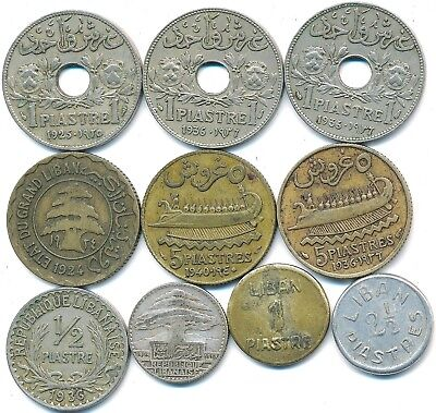 10 Old Coins From Lebanon 1924-1941 Including Silver