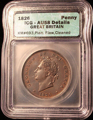 1826 Great Britain George Iv Penny Almost Uncirculated Certified Icg Au58
